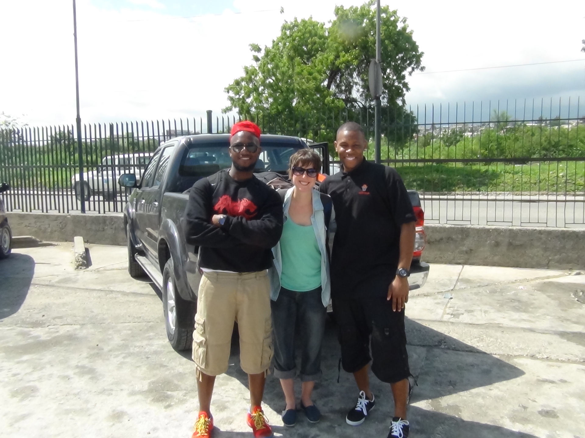 Our small team shorting after landing in Port au Prince in May 2014. From left to right, founder Ray Abellard, photographer Lexi Namer, and co-founder Andre Murray.