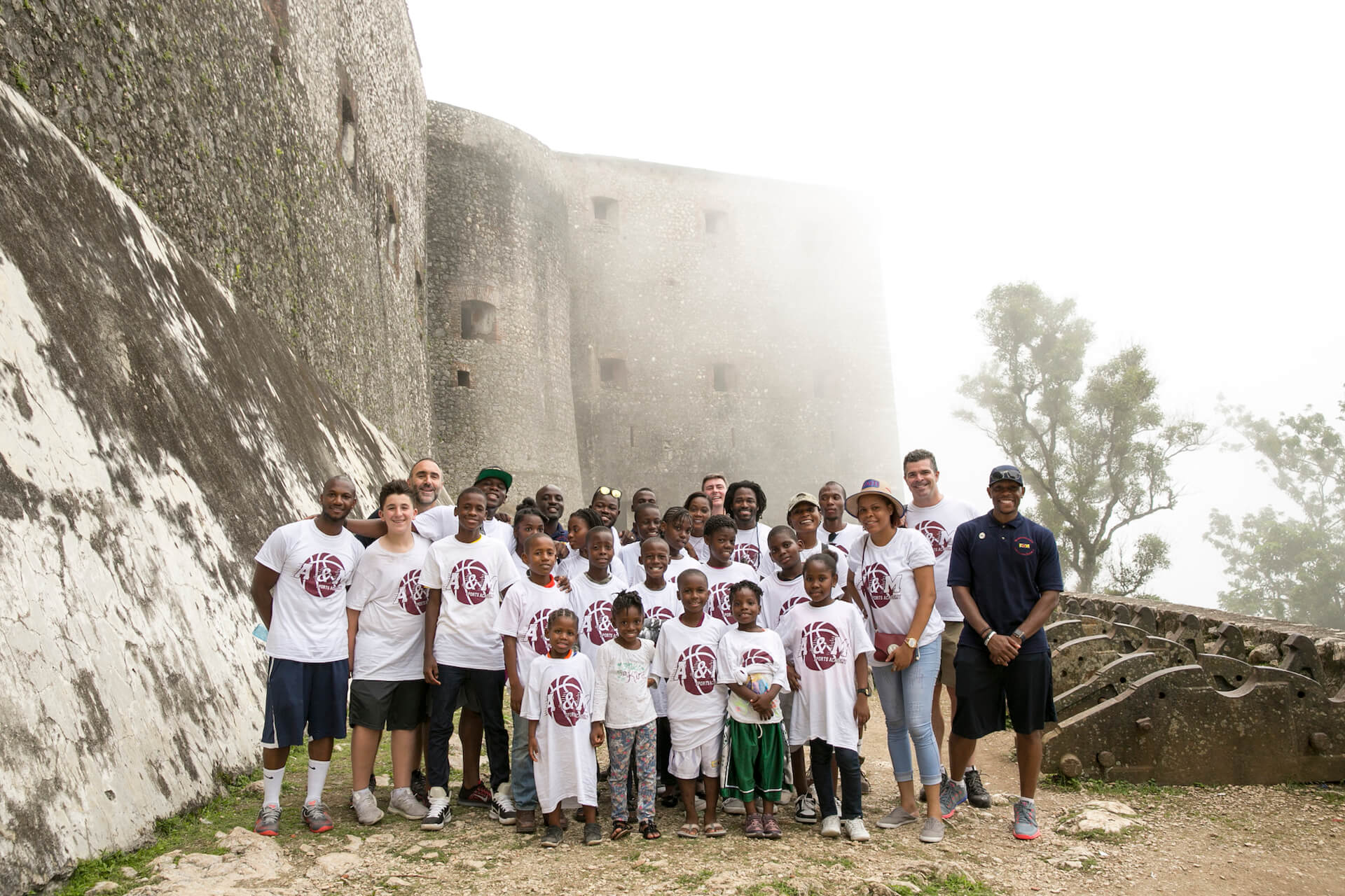 Our team and students on the base of The Citadelle. Once we arrived to Nord, Haiti, we had to walk up the mountain for about an hour to get to the actual fortress.