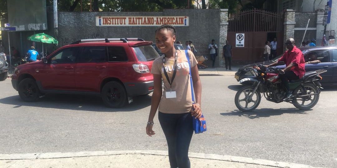 Sama on her first day of class at the Institut Haïtiano-Americain